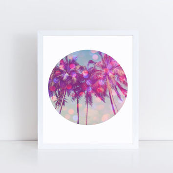 Palm Trees, PRINTABLE, bokeh, modern, wall decor, wall art, home decor, office, dorm, gift idea, wall space, summer, INSTANT DOWNLOAD