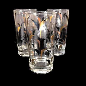 Mid Century Barware Atomic Highball Drinking Glasses Black and Gold Set of 3 Tall Tumblers Mad Men Era