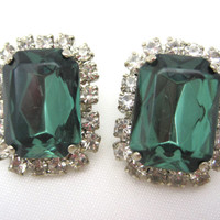 Vintage Rhinestone Earrings - Costume Jewelry