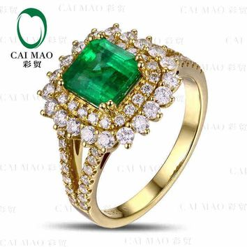CaiMao 1.63 ct Natural Emerald 18KT/750 Yellow Gold  0.85 ct Full Cut Diamond Engagement Ring Jewelry Gemstone colombian