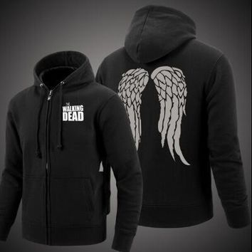 The Walking Dead Zombie Daryl Dixon Wings Cotton Sweatshirts Hoodie Zip-up Coat Jacket Sportswear