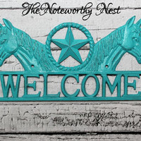 Welcome sign // Western decor // Cast Iron welcome // Welcome Horses // Cast Iron Gun // Rustic decor // Western Welcome // Country Decor
