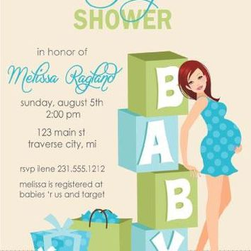 Boy Blocks Baby Shower Invitation