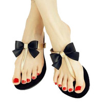 Bow Thong Jelly Shoes Woman Jelly Flip Flops Women Sandals Ladies Flat Slippers 2016