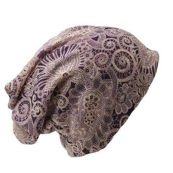 ESBU3C New Casual Adult Women Hat Polyester Floral Autumn Winter Cap Scarf  Ladies Fashion Beanies Design Skullies For Women's Hats