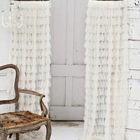 Couture Dreams Chichi Petal with Silk Velvet Header Window Curtain, Ivory