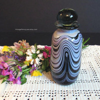 Vintage Hand Blown Art Glass Perfume Decanter Bottle with Stopper, Artist Signed, Swirl Glass