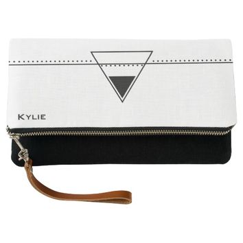 Geometric Black Triangle Line Art Clutch