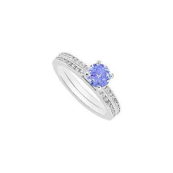 Tanzanite and Diamond Engagement Ring with Wedding Band Set : 14K White Gold - 0.75 CT TGW