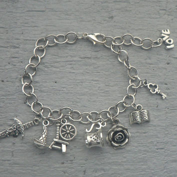 Rumbelle Charm Bracelet OUAT Inspired Jewelry Belle and Rumplestiltskin Once Upon A Time