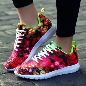 Womens Red Printed Colorful Breathable Running Sports Shoes Sneakers