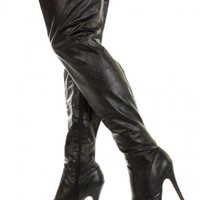 Black Faux Leather Closed Toe Thigh High Platform Boots