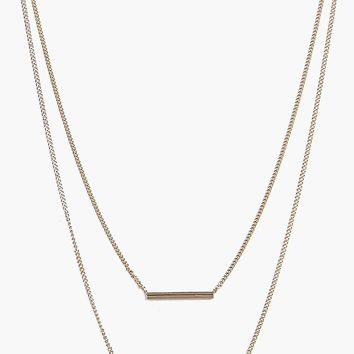 Ava Skinny Horizontal Bars Layered Necklace | Boohoo