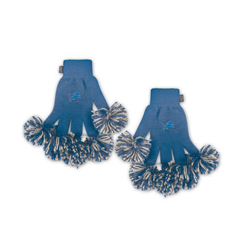 Detroit Lions NFL Spirit Fingerz Embroidered Pom Gloves