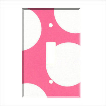 Light Switch Cover - Light Switch Plate Huge White Pink Polka Dot