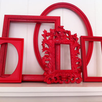 Home Decor Vintage Frames Painted Upcycled Wall of by FeFiFoFun