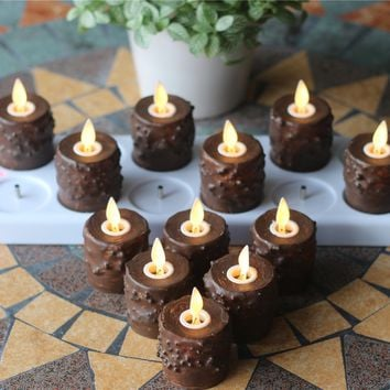 12 pcs Primitive Tealight Candles with Moving Wick/  Remote ,Timer & Charging Plate