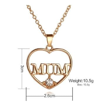 Mum Love Heart-Shaped Pendant Necklace For Mother's Day