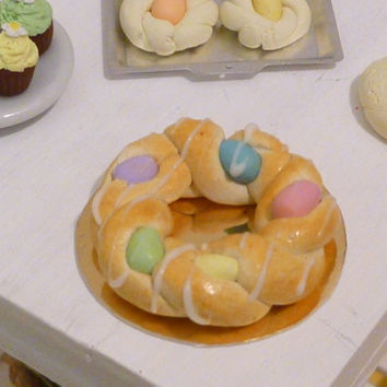 Miniature Dollhouse Italian Easter Bread Wreath with Eggs
