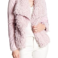 Betsey Johnson | Draped Collar Faux Fur Jacket