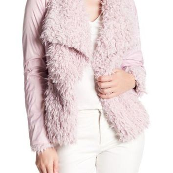 DCCKHB3 Betsey Johnson | Draped Collar Faux Fur Jacket