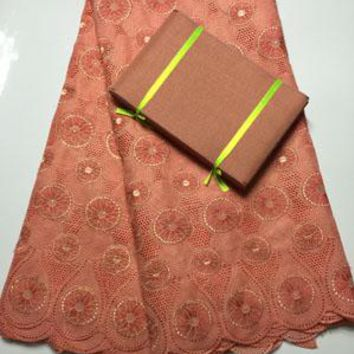 Free Shipping !!! high quality african swiss voile lace matching aso oke headtie / fabric for wedding dress lace  NAX017 PEACH