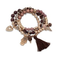 Set of 4 Champagne Gold Tone Fashion Stretch Charm Bracelets with Tassel
