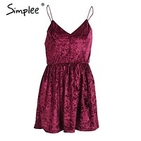 Simplee Elegant velvet backless women dress Christmas sexy v neck sleeveless short dress Autumn winter sundress vestidos