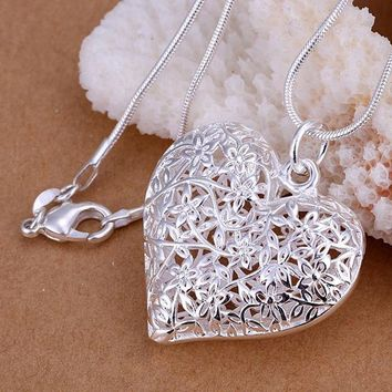 New special women plated silver women lady wedding party jewelry heart lover necklace simple frosted flower necklace