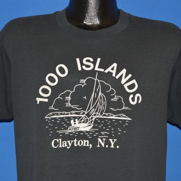 80s 1000 Islands Clayton New York Sailboat t-shirt Large