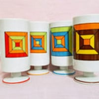 Mid Mod Mugs Blue Orange Atomic Square Four Vintage Coffee Cups