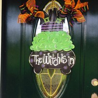 Halloween Door Hanger,Cauldron Door Hanger,Witch Door Hanger,Witch's Brew