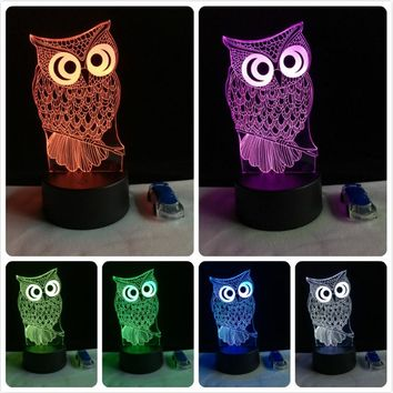 Cute Modern Animal Owl Color Changing 3D Table Lamp LED Night Light for Kids Gift