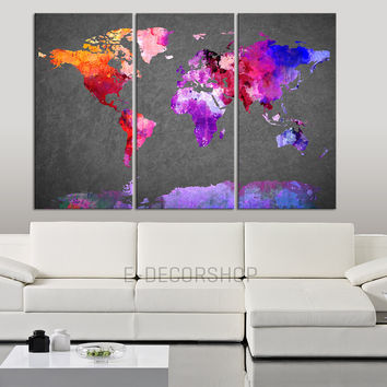 World Map Canvas Print - Contemporary 3 Panel Triptych Colorful Abstract Rainbow Colors Map on Gray Background Large Wall Art