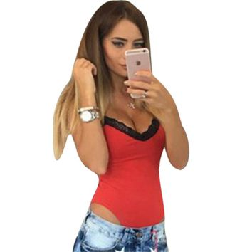 Summer Rompers women Jumpsuits Sexy stitching Patchwork V-neck sling 1-piece Fashion Lace Romper Skinny Bodysuits For Women