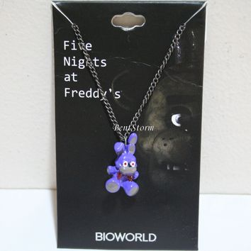 Licensed cool NEW Five Nights at Freddy's 3-D Bonnie Purple Bunny Metal charm pendant necklace