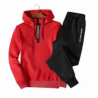 LBL Fashion Casual Hooded Tracksuits Men Solid Sweat Suits Hoodies Set sweatshirts 2018 Hoodie + Sweartpants Two Pieces Sets 4XL