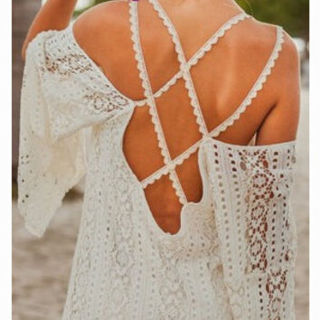 White Long Sleeve Crisscross Back Lace Mini Dress