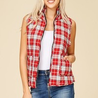Plaid Puffy Vest - Red and White