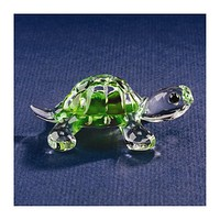 "Small Turtle Glass 2.5"" Figurine w/ Swarovski Elements"