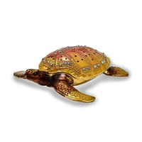 Bejeweled Enameled & Crystal Loggerhead Sea Turtle Trinket Box