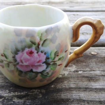 Vintage Teacup Hand Painted 1970s with Pink Rose Kitchen Decor