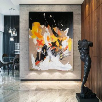 Modern Art Painting on Canvas Large Wall Art Acrylic Abstract Painting Black Painting Vertical Oversize Painting Large Abstract Oil Painting