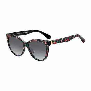 kate spade new york daeshas round polarized acetate sunglasses, black