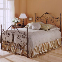 Full Size Antique Style Metal Bed in Majestic Finish