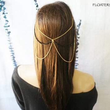 Boho Head Chain, Boho Headpiece, Hair Chain, Gold Hair Jewelry, Gypsy Headpiece
