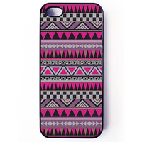 Iphone 5 Case - Fuchsia Aztec Pattern iPhone cover - plastic or rubber - tribal, gift idea