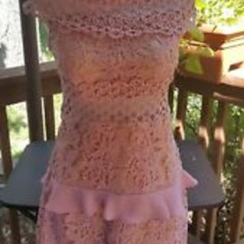 New Romeo + Juliet Couture Off The Shoulder Crochet Illusion Dress Sz M Medium