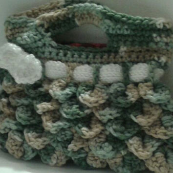 Crochet Purse with Cute White Bow, Green Camel and White Crocodile Stitch Handbag Gift by Knit Blossom