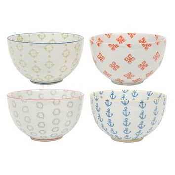Creative Co-Op Ceramic Bowl (Set of 4)